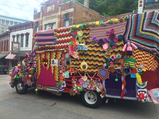 Crocheted Firetruck, Eureka Springs 2016